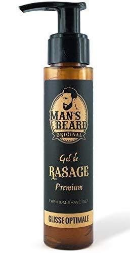 Man's Beard- Gel da barba, all'Aloe Vera, per pelli sensibili, per una rasatura precisa, trasparente      Capacità: 75 ml.