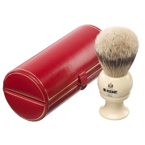 Kent da uomo in argento puro con punta a pennello da barba, colore: nero avorio tasso BK8 BLK8 regalo