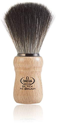 Omega 0196228 - Pennello da barba in fibra'Black Hi-Brush'