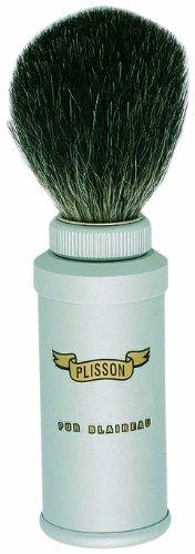 Plissons 406.06V - Pennello da barba da viaggio, misura 6, manico in alluminio spazzolato con setole nere