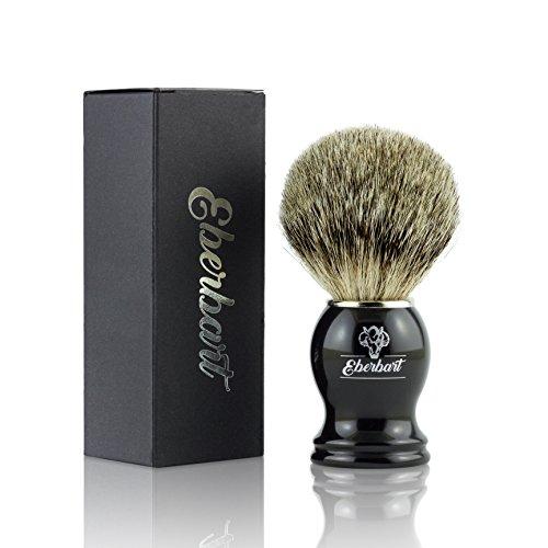 Eberbart Pennello barba in tasso (incl. EBook Gratuito) – Pennello da Barba Professionale di alta qualità in pelo di vero tasso con confezione regalo - per una rasatura delicata e profonda