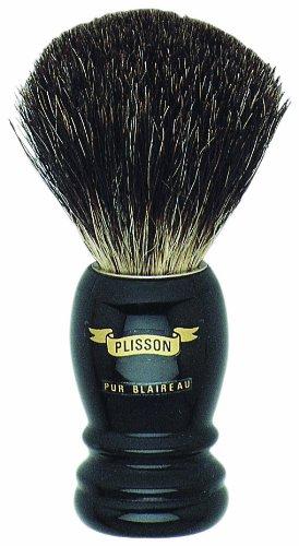 Plissons 5560 - Pennello da barba, manicatura alta nera, taglia 10, colore: nero puro