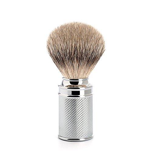 MÜHLE - Pennello rasatura Pennello Da Barba In Tasso Silvertip - Manigla In metallo cromato / sottile Intaglio