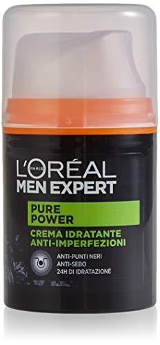 L'ORÉAL Paris Men Expert Crema Viso Uomo Idratante Anti-Imperfezioni Pure Power per Pelli Secche, Ottieni una Pelle Idratata e Purificata per 24 H, 50 ml