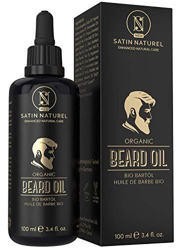 VINCITORE 2019* L'Olio da Barba BIOLOGICO Vegano - 2 VOLTE PIÙ GRANDE (100ml) in Vetro Viola - Nutriente per la Barba - Solo Oli Naturali, Senza Additivi - Idea Regalo per Uomo - Made in Germany