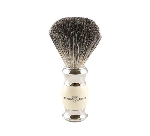 Edwin Jagger 81SB356 - Pennello da barba con setole di puro tasso, manico imitazione avorio, nodo ed estremità in nichel placcato