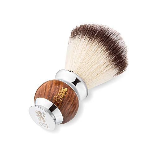 The Cambridge Cutthroat Pennello da Barba | Regalo per Rasatura da Uomo | Pennello Barba Premium in Legno e Acciaio Inossidabile