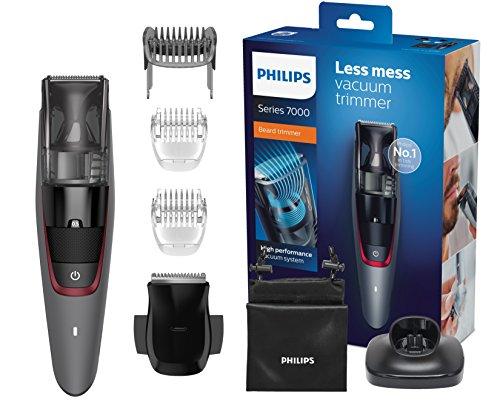 Philips BT7201/16 Serie 7000 Regolabarba Aspiratore con e senza Filo, Autonomia fino a 60 min, ca/batteria