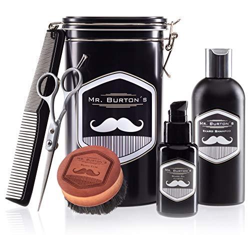Mr.Burton's, set per la cura della barba, prodotto in Germania,con olio, spazzola, forbici e pettineper la barba, perfettocome regalo di compleanno o per altre occasioni, da uomo, per chi porta la barba