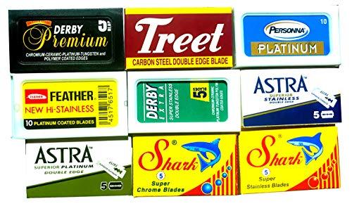 Lamette da barba, confezione campione da 60 lamette, Astra-Derby-Treet-Shark-Personna-Shark, 9 Marche Differenti