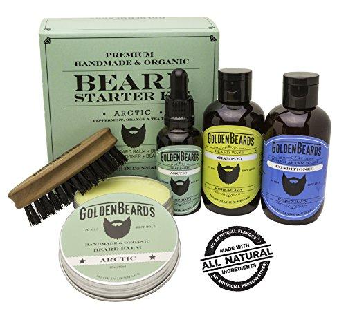 Barba Set Biologico – Set in scatola kit for Men balsamo per barba – Kit regalo per gli uomini Gift – Arctic – menta piperita & smell – Golden Beards