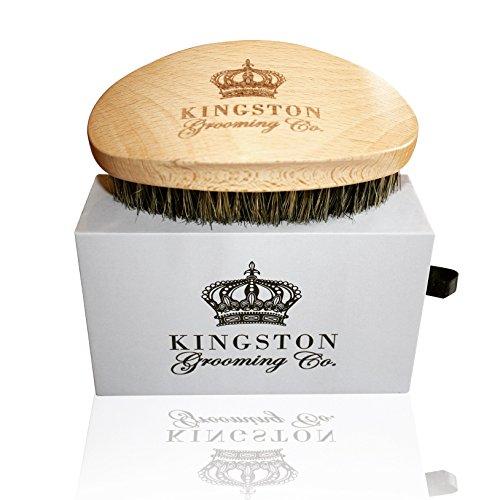 Kingston Grooming Company Spazzola per capelli e barba per uomo, setola per capelli con doppio cinghiale