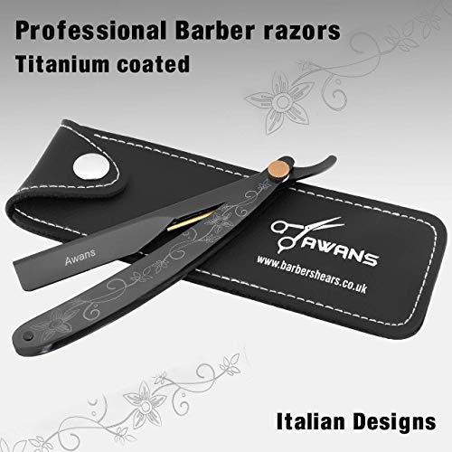Rasoio a mano libera da barbiere Shavette per uomo con impugnatura nera in titanio