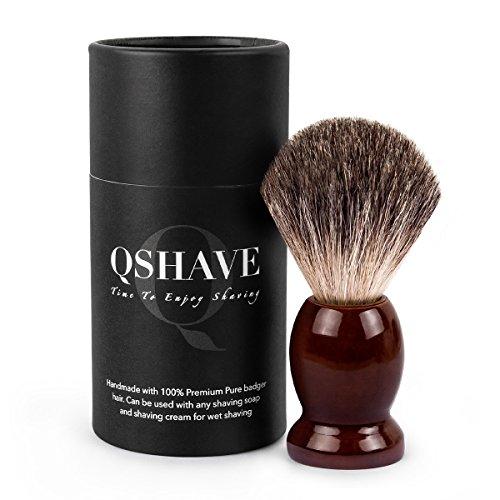 QSHAVE - Pennello da barba fatto a mano, setole di vero pelo di tasso puro al 100%, con vere setole di tasso, manico in legno La scelta migliore per una rasatura umida con rasoio.