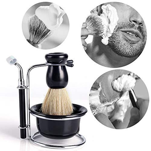 Neverland Fashion Set professionale per la rasatura con rasoio da barba, pennello, ciotola e supporto in acciaio inossidabile, colore: nero
