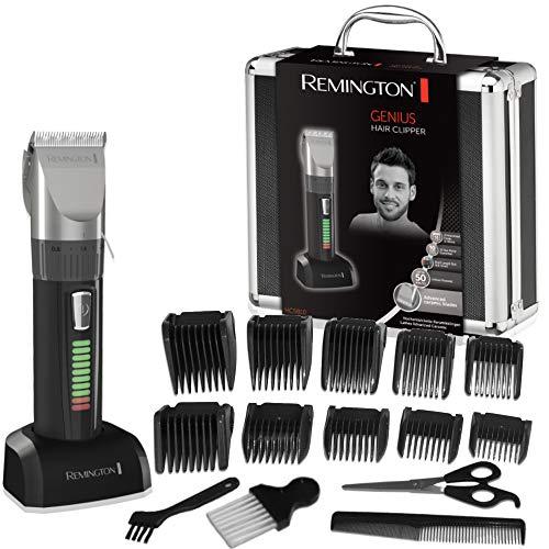 Remington HC5810 Genius Tagliacapelli con lama in Ceramica, ricaricabile, 10 pettini, caratteristiche professionali, Nero/Grigio