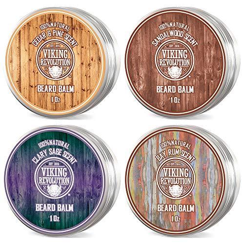 4 Barba Balm Variety Pack- Sandalo, pino e cedro, Bay Rum, Stili Clary Säge-, rafforza e ammorbidisce Beards & Moustaches - lasciare in condizionatore Cera per gli uomini.